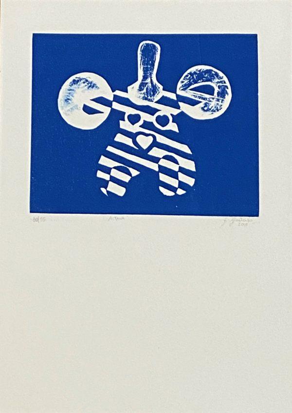 Aitana blu Linoleumgrafia su carta 50x35