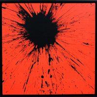 Impact rosso Fluo 2020 acrilico su tela cm 50x50